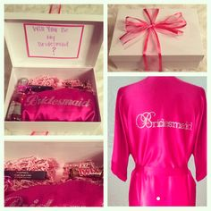 "Will you be my Bridesmaid? Here is one of the creative #bridesmaidboxes I made to ask my girls to be apart of my special journey to tying the knot! This includes a white keepsake box, pink gift confetti, & fuchsia ribbon all from Michaels. Along with pink moscato, pink bubbles,MAC lippies, & silk fuchsia robes with rhinestone ""Bridesmaid"" iron on's from eBay. Try this when popping the big question to the ladies in your life in a different way by giving them an offer they cant refuse!"