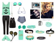 """Black and Aqua"" by epic-callie ❤ liked on Polyvore featuring Yves Saint Laurent, Ocean Minded, Prada, Casetify, BP., Bling Jewelry, Amrita Singh, The Brave Collection, Good Work(s) and Perle De Lune"