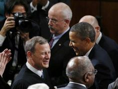 President Barack Obama With Chief Justice Roberts....  State Of The Union 2013