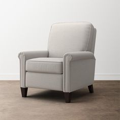 Sophisticated Thompson Recliner with rolled arms, tapered legs. Mixes well with other pieces. Hundreds of fabrics, leathers. Buy now or customize your own! Tweed, Swatch, Swivel Glider, Couch Set, Dining Room Sets, Nailhead Trim, Seat Cushions, Recliner, Living Spaces