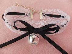 White Lace with Black Ribbon Silver Jingling Bell Cat Collar Maid Choker Human Pet Slave BDSM Costume Anime Kawaii Lolita Cosplay