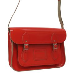 We love Cambridge Satchels. This is a 13inch satchel made from red patent leather. They are available in a variety of sizes and colours at Paperchase.