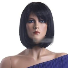 Modotop BOBO short straight Black Realistic Hair Wig bangs for White Women with Wig Cap 100 Kanekalon Fiber Synthetic >>> Read more  at the image link. (This is an Amazon affiliate link and I receive a commission for the sales and I receive a commission for the sales)