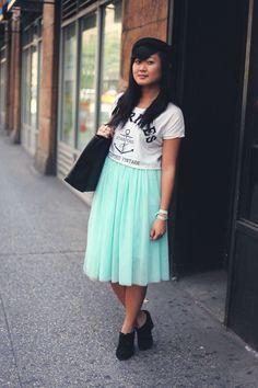 JennifHsieh | Outfit | Mint Midi Skirt, White Crop Top, Black Bowler Hat, Black Wedges