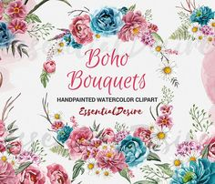 Boho Bouquets Clipart Watercolor Boho Peony by EssentialDesire