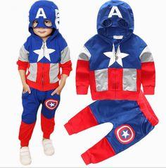 $9.18 (Buy here: https://alitems.com/g/1e8d114494ebda23ff8b16525dc3e8/?i=5&ulp=https%3A%2F%2Fwww.aliexpress.com%2Fitem%2F2016-New-Fashion-Anime-Style-Children-Set-Baby-Boy-Sport-Sets-Suit-Cartoon-Captain-America-Hoodie%2F32687290108.html ) 2016 New Arrival Boys Girls Clothes Suit pentacle star letter Captain America Zipper jacket + pants 2pcs/set Kids Set Children's for just $9.18
