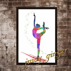 Gymnastics art print  acrobatics watercolor poster by juicyginger