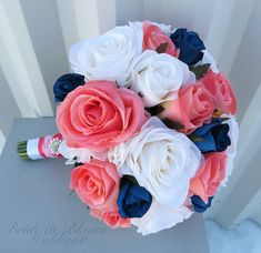 Rose Wedding bouquet  Coral navy blue and white silk bridal