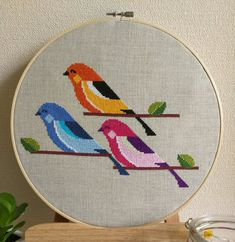 Three Little Birds  Counted Cross Stitch by EvermoreEmbroidery
