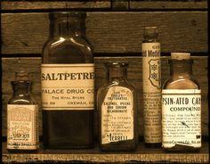 Vintage Amber Pharmacy Bottles