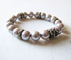 Swarovski Silver Pearl Bracelet Pearl Stretch by TwigsAndLace, $25.00