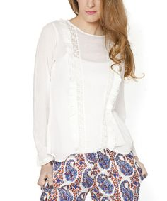 Look what I found on #zulily! White Ruffle Boatneck Top #zulilyfinds