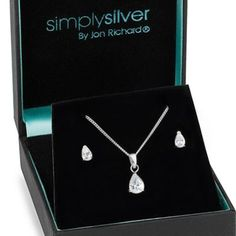 Simply Silver Cubic zirconia peardrop necklace and earring set- at Debenhams.com