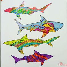 Finished colorage. Some peculiar sharks.  #lostocean #colorthis #coloringinstagram #coloringbooksforgrownups #colouringbooksforgrownups #relax #destress #feelgood #feelbetter #prismacolor #staedtler #fabercastell #polychromos #coloringbooks #crayola #jardimsecreto #jardimsecretoinspire #johannabasford @johannabasford #SecretGarden #EnchantedForest