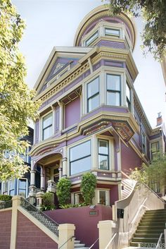 House in Pacific Heights, San Francisco, shows outstanding detailing on architectural features, especially just under the trim at the top of the first floor. Not a favorite color for Victorian houses, it is nevertheless a stunning paint job and beautiful house.
