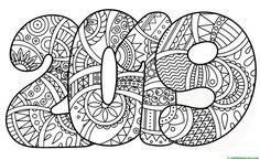 Dibujo para colorear de 2019- Coloring Book Pages, Coloring Sheets, Ecole Art, Mandala Drawing, Nouvel An, Printable Coloring, Free Coloring, Artist Art, Zentangle