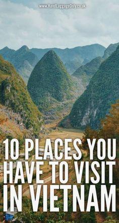 10 places to visit in Vietnam. 10 places to visit in Vietnam. Vietnam Travel Guide, Asia Travel, Beautiful Places To Visit, Cool Places To Visit, Travel Advice, Travel Tips, Travel Goals, Vietnam Vacation, Vietnam Holidays