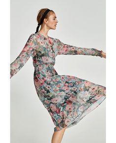 autumn floral midi dress Zara