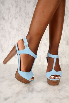 Sexy Blue T-Strap Peep Toe Platform Chunky High Heels Nubuck Platform High Heels, High Heel Pumps, Pump Shoes, Shoes Heels, Heel Boots, Dress Shoes, Chunky High Heels, Black High Heels, High Heels Outfit