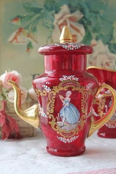 # Cp1311 antique Made in Italy Murano crystal glass enamel painting with coffee pot