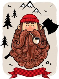 Buy Lumberjack by Malchev on GraphicRiver. Illustration of lumberjack. Hipster Illustration, Illustration Art, Cartoon Illustrations, Chopper, Tattoo Perna, Beard Logo, Beard Tattoo, Tattoo Man, Beard Art