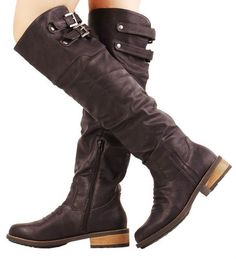 Womens Shoes Over The Knee Thigh High Riding Buckle Boots Dark Brown Size 6 | eBay