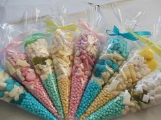 pink and Blue Green Yellow  party cone favours SET OF 8 christening Favoures wedding favors sweet cones childs party  baby shower favours