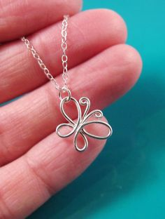 Wire Butterfly Necklace Sterling Silver-14K by PurplePoemCraft