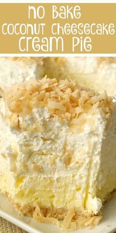 Coconut Cheesecake Cream Pie — no-bake pie recipe, coconut cream pie w/ a cheesecake twist; -easy & simple thanks to the coconut pudding mix & Nilla wafer crust… no-bake pie perfect to make the day ahead to save time! Coconut Desserts, Easy Desserts, Delicious Desserts, Lemon Desserts, Healthy Desserts, Easy Healthy Recipes, Vegan Recipes, Easy Meals, Cream Pie Recipes
