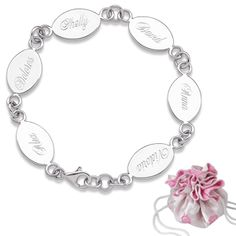 Buy Sterling Silver Engraved Oval Family Name Bracelet with Free Gift at Limoges