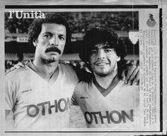 Júnior e Maradona - 1985 - jogo da volta de Zico ao Flamengo, vindo da Udinese. Só tinha craque (L'Unità).