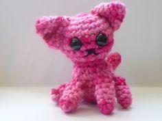 Cat Amigurumi Pink Crocheted Stuffed Animal wool by AmigurumiByAli, $22.00