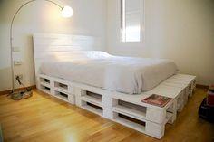 60 Ideas For Cheap Furniture Ideas Diy Bed Frames Wood Pallet Beds, Diy Pallet Bed, Diy Pallet Furniture, Diy Bed, Bedroom Furniture, Bedroom Decor, Pallet Ideas, Furniture Ideas, Pipe Furniture