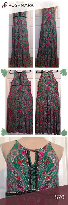 INC, Beaded Eyelet Neckline, Long Maxi Dress INC, Beautiful Colors Of Greens, Fuchsia Pink, Orange, Browns & White, Paisley Printed Long Maxi Dress. Round neckline strap wrapped above chest eyelet & top neck back button close above back eyelet. Long strands of jeweled beads & round beads border down & across bottom of chest. Sleeveless with a flattering fabric border along back (see 6th pic). In Immaculate, New Condition. Flattering & Slimming Look On. I Love This Dress. Stretchable Rayon…