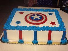 Captain America birthday cake Captain America Birthday Cake, Captain America Cake, Anniversaire Captain America, Pastel Capitan America, Pastel Rectangular, How To Make Pinata, Baby 1st Birthday, Birthday Parties, Wonder Woman Birthday