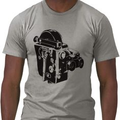 """""""Retro Film Camera Tee Shirts: Enjoy the feel of 100% fine jersey cotton against your skin. This unisex shirt, by American Apparel, is the softest, smoothest shirt we sell. It's medium weight and made from combed cotton for your added comfort. Gives a flattering and stylish fit to virtually any body type. Made in the USA."""""""