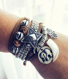 Pulseira Zion - Beth Souza Acessórios, bijoux boho style ,acessórios boho chic, acessórios femininos atacado,bijuterias de luxo,pulseira de couro,bijuterias verão 2017, bijoux atacado