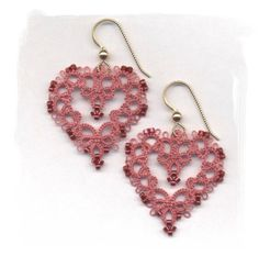 Tatted Lace Heart Earrings by Elizabethslace