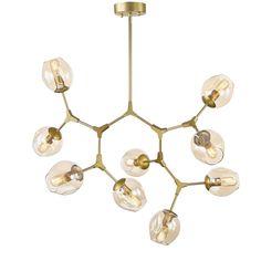 - Pendente em Metal Dourado e Vidro Conhaque com 9   Lili Wood
