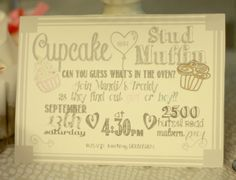 Gender Reveal Invite Cupcake or Stud Muffin