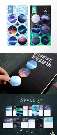 Beautiful, metallic, space themed stickers for decorating all your things!