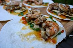 Quasadillas, stuffed with grilled shrimp and both sweet and savory stuffing, all made on the grill   Grilled Shrimp Quesadillas   https://grillinfools.com