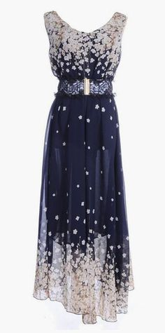Lovely Clusters Shop: Blue Cascading White Floral Print Lace Belted Waist Dress