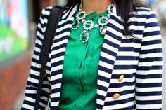 Stripes & Emerald (and the Zara Office City Bag)  Emerald is Pantone's color of the year for 2013; especially love it with navy stripes...a foolproof combination.