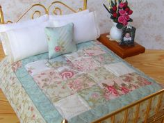 """Miniature Quilt  with 2 Matching Bed Pillows & Decorator Pillow, """" Sea Breeze"""" - One Inch Scale"""
