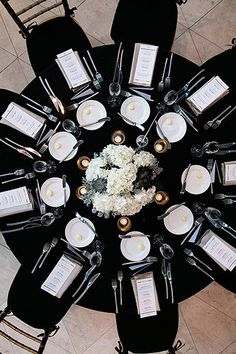 Think you can't use black as a primary wedding color? When paired with white, the effect is so timeless that you'll still love looking at your photos decades from now.Plus, check out Wedding Ideas by Color ►Photo Credit: K Black And White Wedding Theme, Black Tie Wedding, Gold Wedding, Wedding Day, Black Wedding Decor, Black Tie Party, Black White Parties, Wedding Stage, Wedding Ceremony