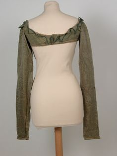 National Trust UK,  Inventory Number 1359493, c1810, Jacket; Spencer - Body of drab green cotton poplin, sleeves of green sarsenet.