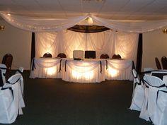 Black & white fabric drape wedding backdrop