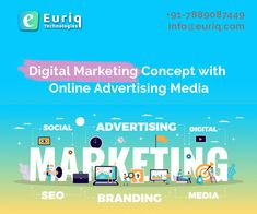 Digital Marketing Company in Chandigarh: Digital Marketing concept with Online Advertising Media. Euriq Technologies is a Digital Marketing Company. Our aim is to promote your businesses digitally and provide you an innovative way of doing business. Our Services are SEO, PPC, SMM, Website Designing, Content Writing and Youtube Marketing. Social Advertising, Online Advertising, Competitor Analysis, Promote Your Business, Digital Marketing Services, Chandigarh, Seo, Innovation, Branding