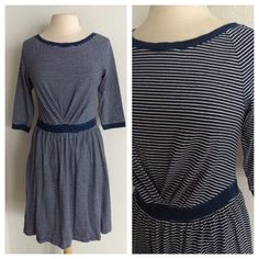 "Anthropologie dress Anthropologie Navy and white striped dress. Brand new with tags. Size small. 100% cotton. This dress has elbow length sleeves and an elastic waistband. This is a pretty thick dress! Measures 36"" long with a 34"" bust.  No trades. Poshmark onlyI am very open to fair offers! Anthropologie Dresses"